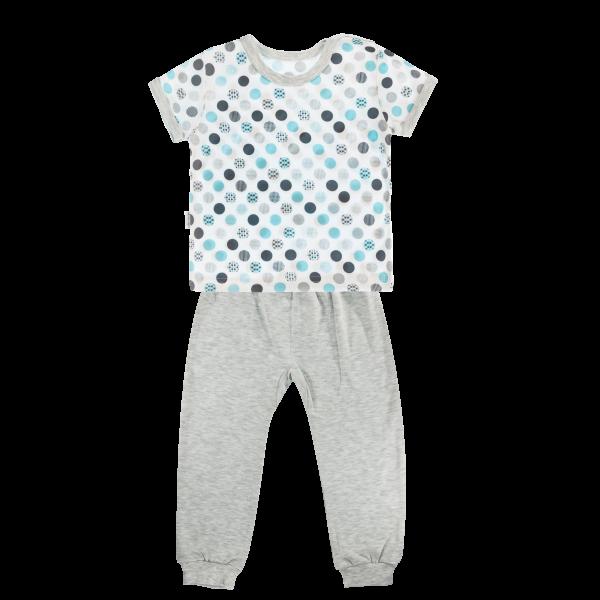 Bavlněné pyžamko Mamatti Bubble Boo - krátký rukáv - šedé/tyrkys, vel. 104