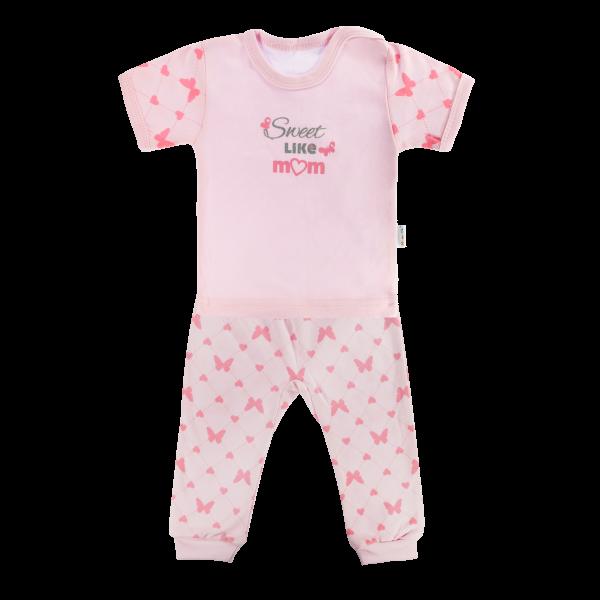 Bavlněné pyžamko Mamatti Motýlek srdíčko - krátký rukáv - růžové