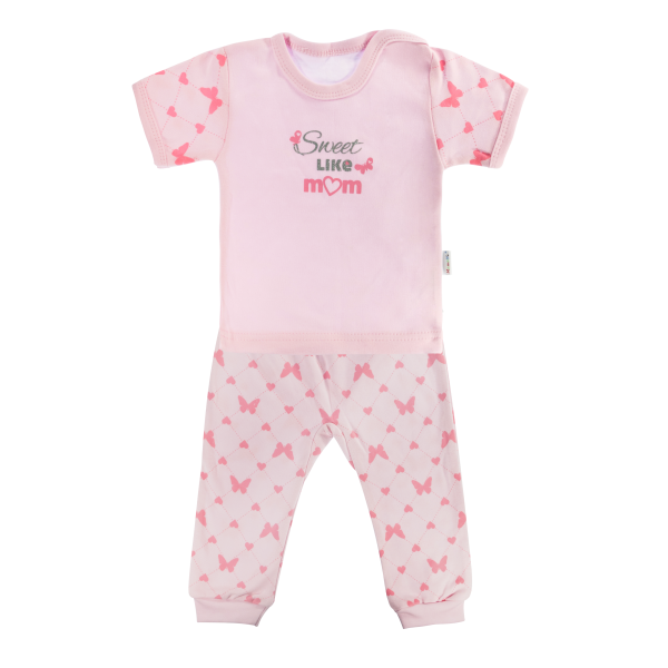 Bavlněné pyžamko Mamatti Motýlek srdíčko - krátký rukáv - růžové, vel. 98vel. 98 (24-36m)