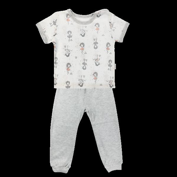Bavlněné pyžamko Mamatti Baletka - krátký rukáv - smetanové/šedé, Velikost: 80 (9-12m)