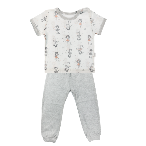 Bavlněné pyžamko Mamatti Baletka - krátký rukáv - smetanové/šedé