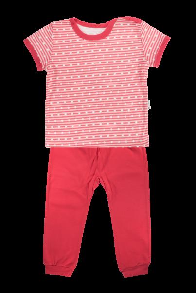 Bavlněné pyžamko Mamatti Love Girl - krátký rukáv - červené, vel. 86vel. 86 (12-18m)