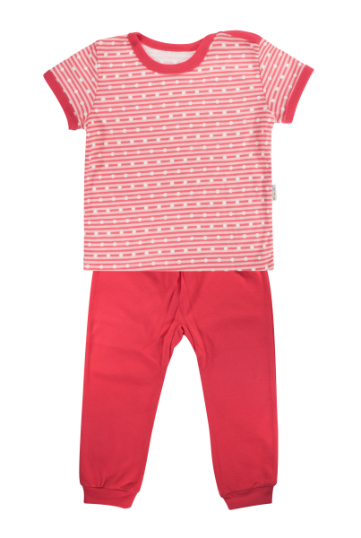 Bavlněné pyžamko Mamatti Love Girl - krátký rukáv - červené, vel. 92