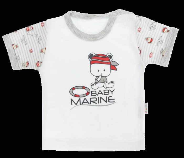 Bavlněné tričko Mamatti Pirát krátký rukáv - šedé, vel. 86