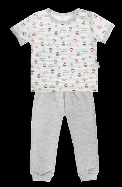 Bavlněné pyžamko Mamatti Pirát - krátký rukáv - šedé