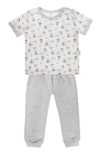 Bavlněné pyžamko Mamatti Pirát - krátký rukáv - šedé, vel. 86
