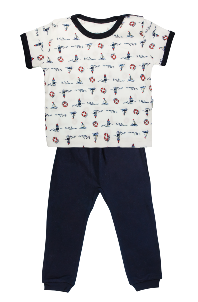 Bavlněné pyžamko Mamatti Maják - krátký rukáv - granátové, vel. 98