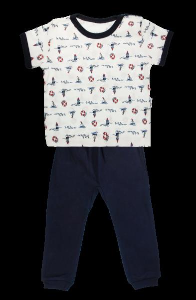 Bavlněné pyžamko Mamatti Maják - krátký rukáv - granátové, vel. 110, Velikost: 110
