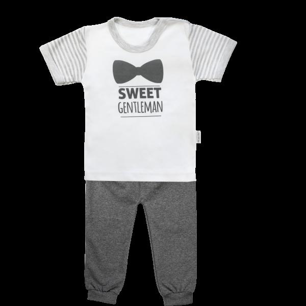 Bavlněné pyžamko Mamatti Gentleman - krátký rukáv - šedé, vel. 86vel. 86 (12-18m)