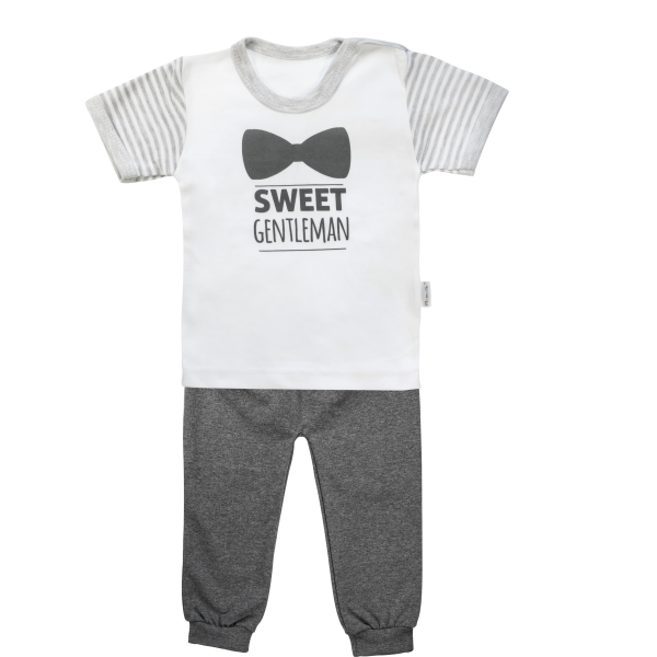 Bavlněné pyžamko Mamatti Gentleman - krátký rukáv - šedé, vel. 92