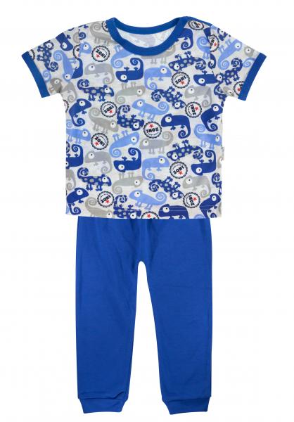 Bavlněné pyžamko Mamatti Chameleon - krátký rukáv - modré/šedé, vel. 104