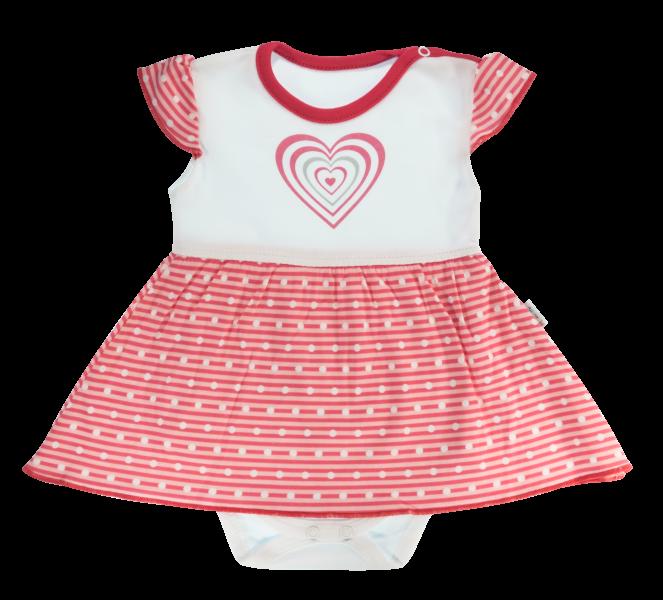 Bavlněné sukničkobody Mamatti Love Girl - krátký rukáv - červené, Velikost: 86 (12-18m)