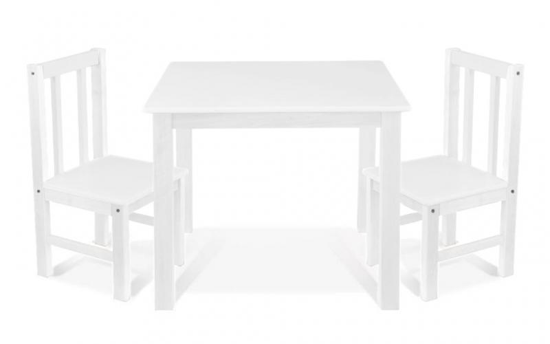 BABY NELLYS Dětský nábytek - 3 ks,  stůl s židličkami - bílá, D/02