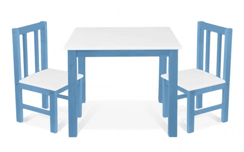BABY NELLYS Dětský nábytek - 3 ks,  stůl s židličkami - modrá , bílá, D/06