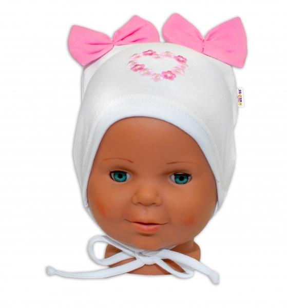 Bavlněná čepička na zavazování Baby Nellys s mašličkami - bílá, 44 - 48cm