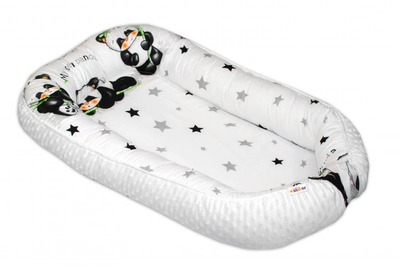 Oboustranné hnízdečko Baby Nellys s minky pro miminko Panda - bílé