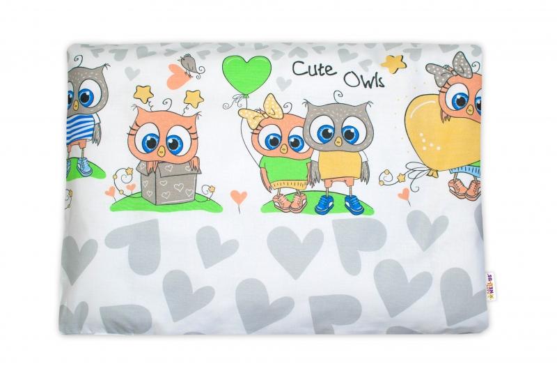 Baby Nellys  Povlak na polštářek Cute Owls, 40x60 cm - šedý