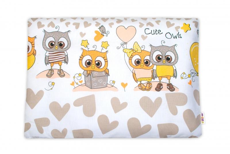 Baby Nellys  Povlak na polštářek Cute Owls, 40x60 cm - béžový