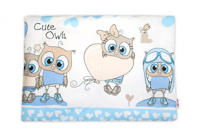 Baby Nellys  Povlak na polštářek Cute Owls, 40x60 cm - modrý