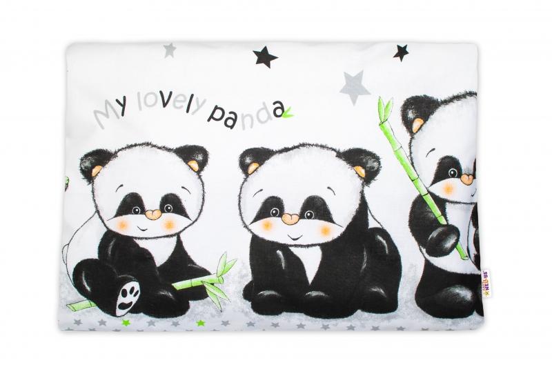 Baby Nellys  Povlak na polštářek Panda, 40x60 cm - bílý