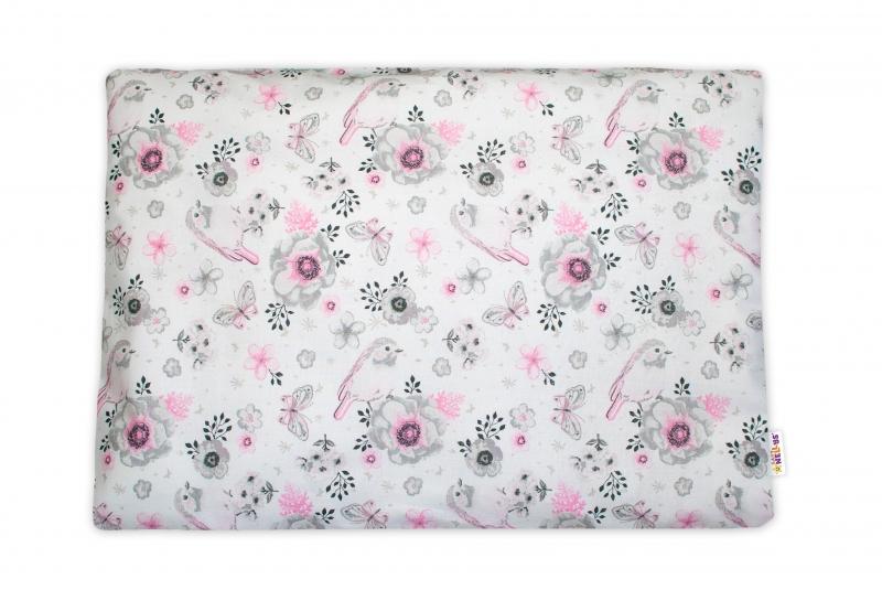 Baby Nellys  Povlak na polštářek Ptáčci, 40x60 cm - růžový