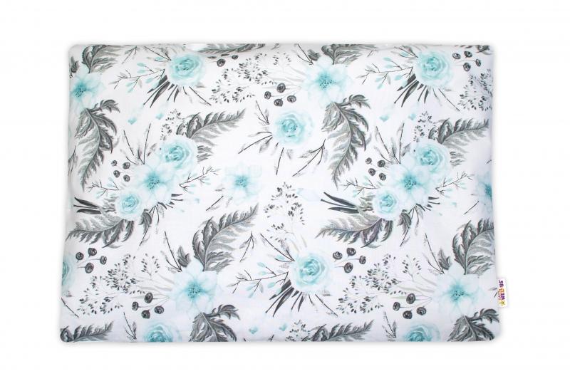 Baby Nellys  Povlak na polštářek Flowers, 40x60 cm - mátový