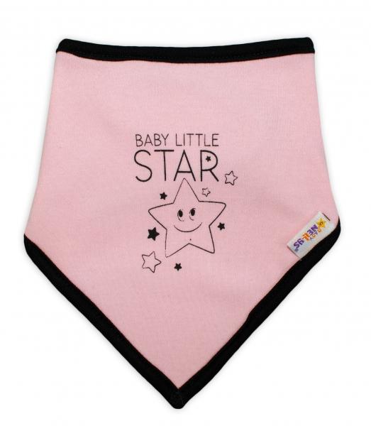Dětský bavlněný šátek na krk Baby Nellys, Baby Little Star - růžový