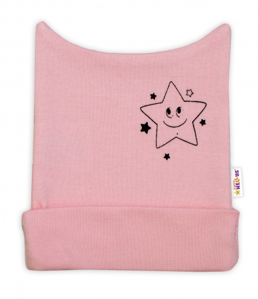 Novorozenecká čepička Baby Nellys, Baby Little Star - růžová