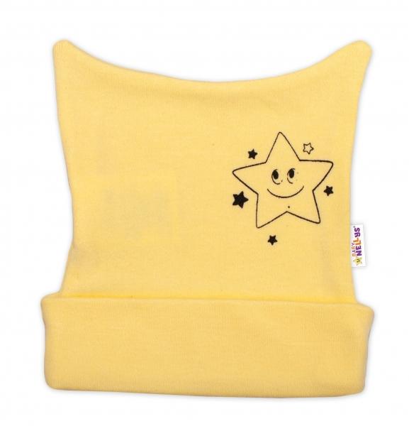 Novorozenecká čepička Baby Nellys, Baby Little Star - žlutá, vel. 62