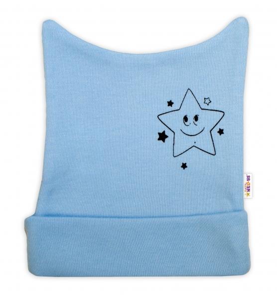 Novorozenecká čepička Baby Nellys, Baby Little Star - modrá, vel. 56