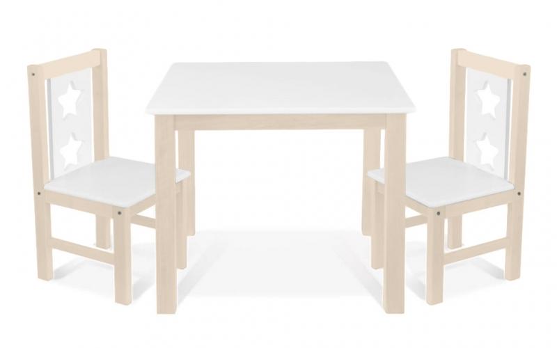 BABY NELLYS Dětský nábytek - 3 ks,  stůl s židličkami - přírodní lll., bílá, C/03