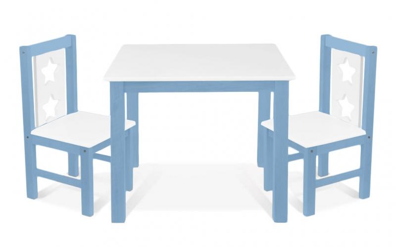 BABY NELLYS Dětský nábytek - 3 ks,  stůl s židličkami - modrá, bílá, C/02