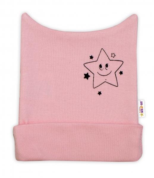 Novorozenecká čepička Baby Nellys, Baby Little Star - růžová, vel. 56