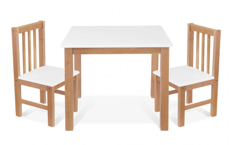 BABY NELLYS Dětský nábytek - 3 ks,  stůl s židličkami - přírodní, bílá, A/01