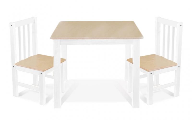 BABY NELLYS Dětský nábytek - 3 ks, stůl s židličkami - přírodní ll., bílá, A/03