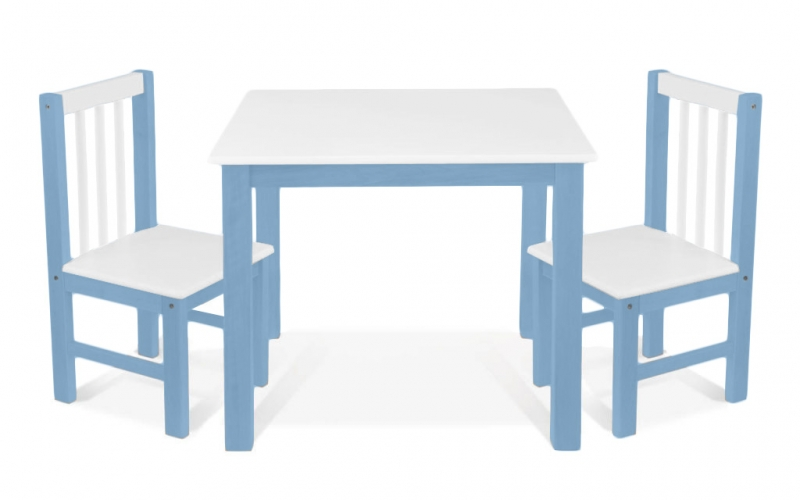 BABY NELLYS Dětský nábytek - 3 ks, stůl s židličkami - modrá, bílá, A/08