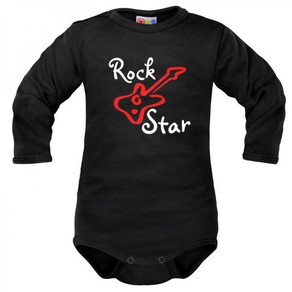 Body dlouhý rukáv Dejna Rock Star - černé, vel. 74, Velikost: 74 (6-9m)