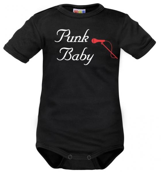 Body krátký rukáv Dejna Punk Baby - černé, vel. 74, Velikost: 74 (6-9m)