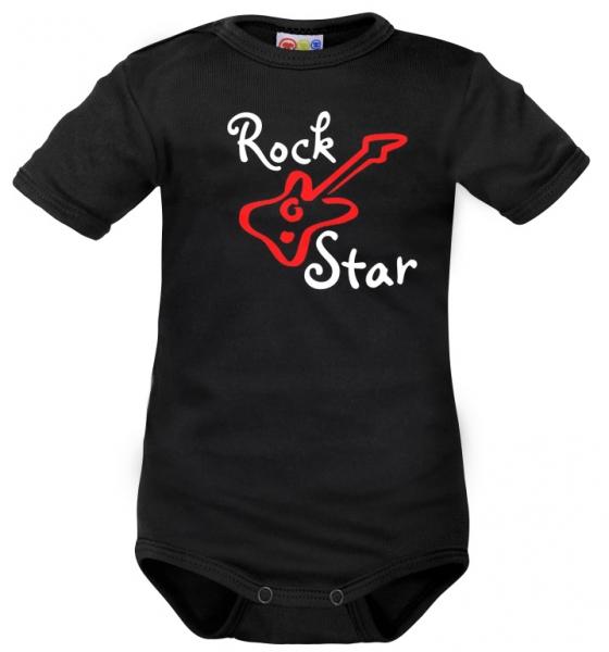 Body krátký rukáv Dejna Rock Star - černé, Velikost: 62 (2-3m)