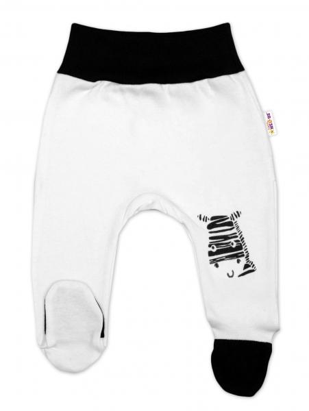 Baby Nellys Kojenecké polodupačky, bílé - Zebra, vel. 68