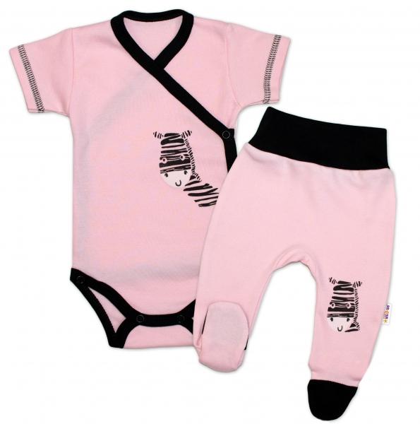 Baby Nellys 2-dílná sada body kr. rukáv + polodupačky, růžová - Zebra, vel. 56