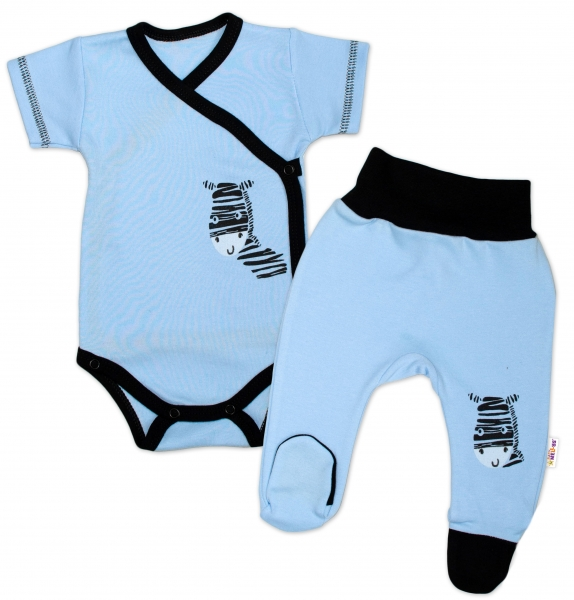 Baby Nellys 2-dílná sada body kr. rukáv + polodupačky, modrá - Zebravel. 50 (0-1m)