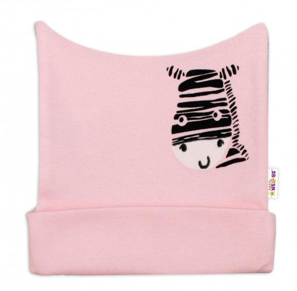 Novorozenecká čepička Baby Nellys, Zebra - růžová