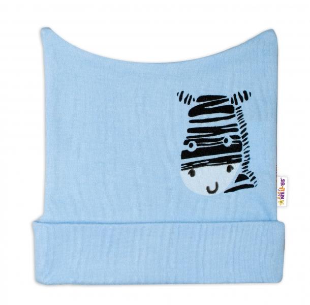 Novorozenecká čepička Baby Nellys, Zebra - modrá, vel. 62