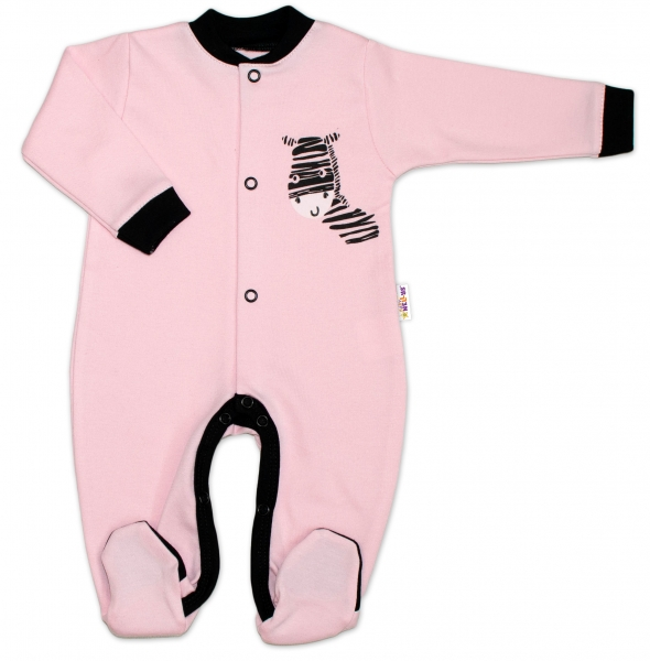 Baby Nellys Bavlněný overálek Zebra - růžový