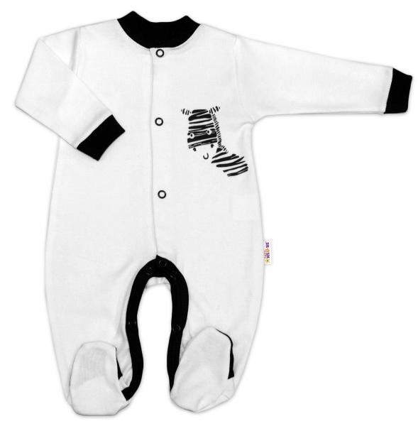 Baby Nellys Bavlněný overálek Zebra - bílý