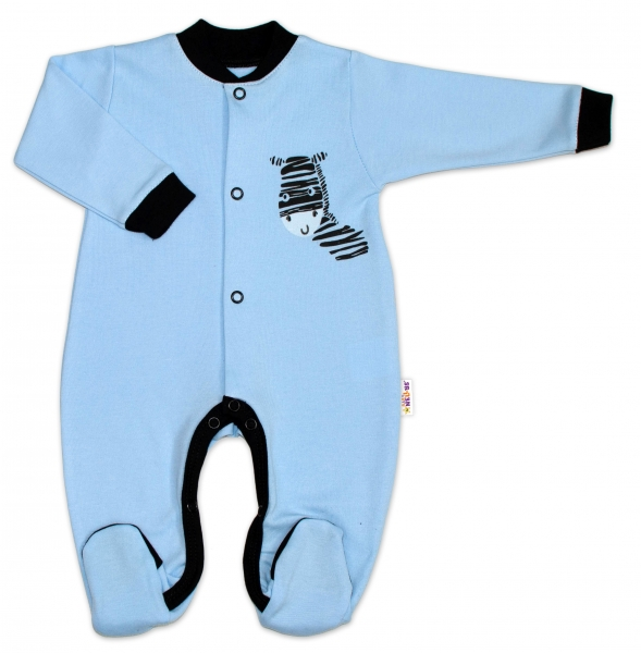 Baby Nellys Bavlněný overálek Zebra - modrý, Velikost: 50 (0-1m)