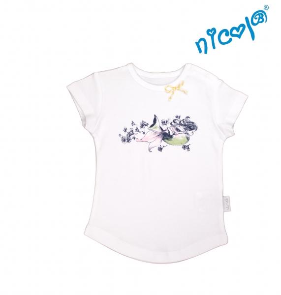 Kojenecké bavlněné tričko Nicol, Mořská víla - krátký rukáv, bílé, Velikost: 56 (1-2m)