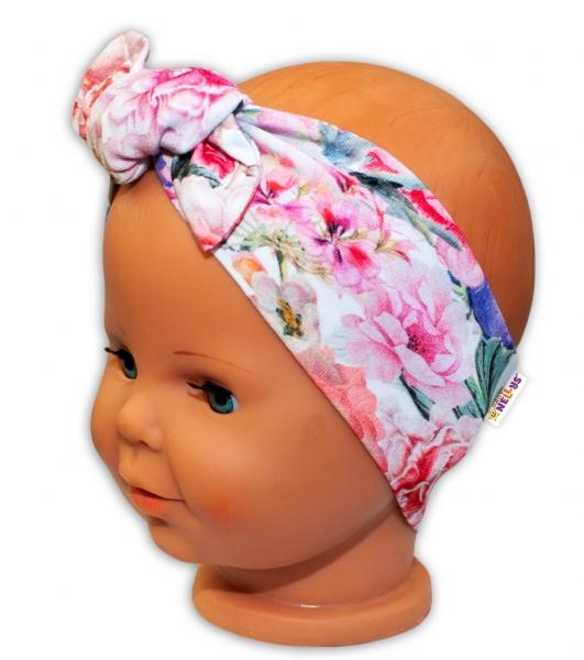 Baby Nellys Čelenka na zavazování Květiny - růžové, vel. 6-12 m
