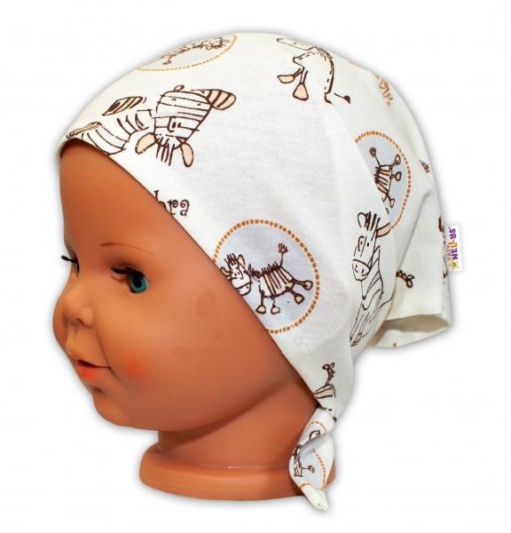 Baby Nellys Dětský šátek na zavazování Zebra - smetanová